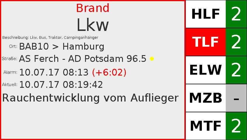 Brand LKW